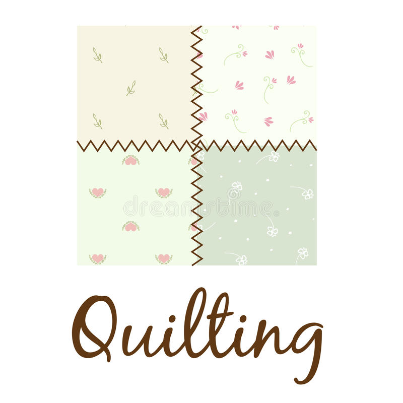 Quilting Logo. Quilting vector logo illustration with branches, flowers and hearts in pastel colors royalty free illustration