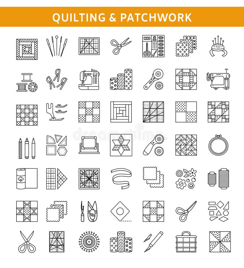 Quilting & patchwork. Supplies and accessories for sewing quilts. From fabric squares & blocks. Different tools, patterns for quilters. Vector line icon set royalty free illustration