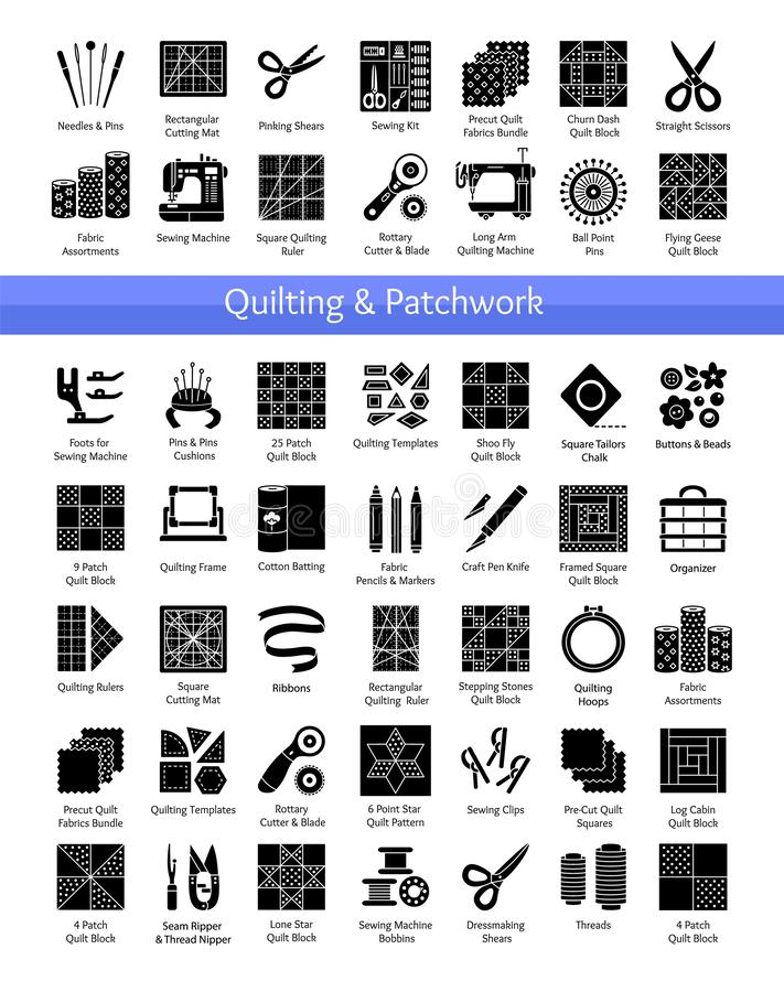 Quilting & patchwork supplies. Tools for sewing quilts from fabric squares & blocks. Patterns for quilters. Vector flat icon set. Isolated objects on white stock illustration