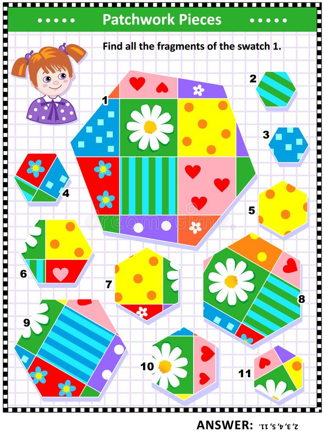 Quilting or patchwork themed logic picture puzzle. Quilting or patchwork themed IQ and spatial skills training visual puzzle suitable both for kids and adults royalty free illustration
