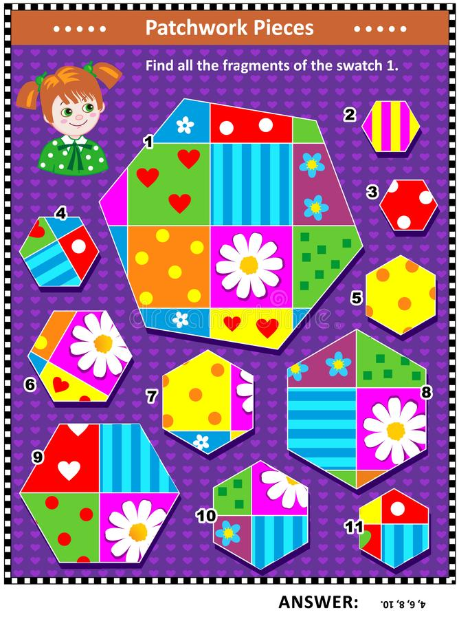Quilting or patchwork themed logic picture puzzle. Quilting or patchwork themed IQ training visual puzzle suitable both for kids and adults: Find all the vector illustration