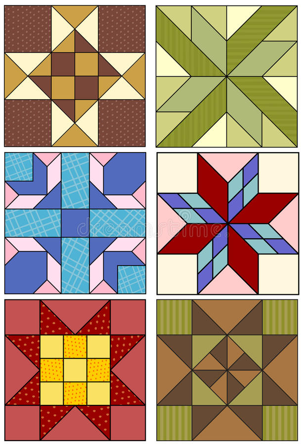 Quilting patterns. Traditional quilting designs, three, four and five grid patterns vector illustration