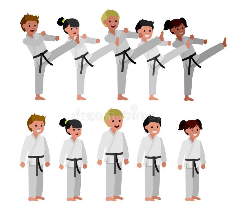 Quimono vestindo da criança dos desenhos animados, arte marcial ilustração do vetor