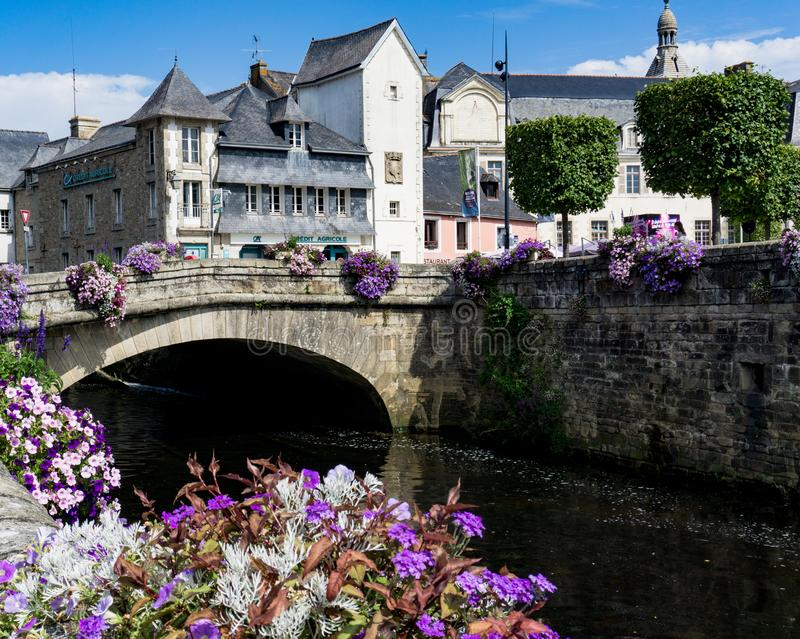 Picturesque idyllic small town of Quimperle in Brittany in northwestern France with river Laita stock photos