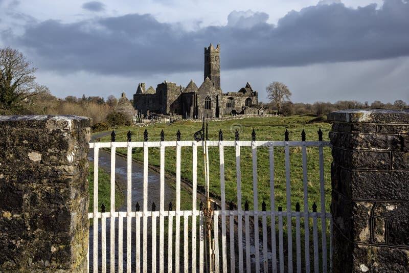 Quin修道院废墟,克莱尔郡,爱尔兰 免版税图库摄影
