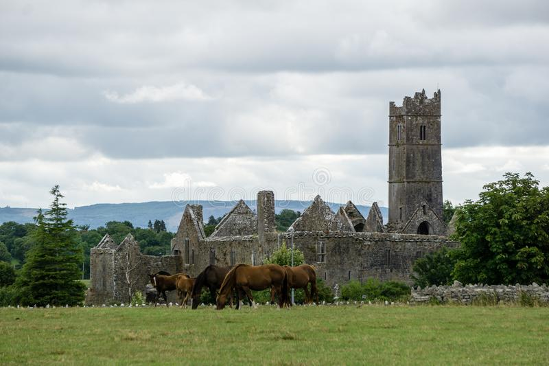 Quin Friary Abbey in Ireland stock photo