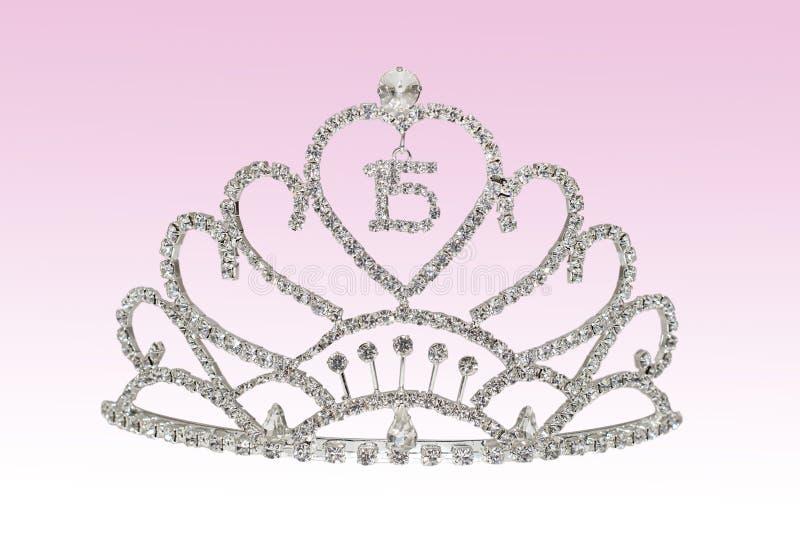 Quinceañera Tiara. A Quinceañera tiara on a pink gradient background royalty free stock photos