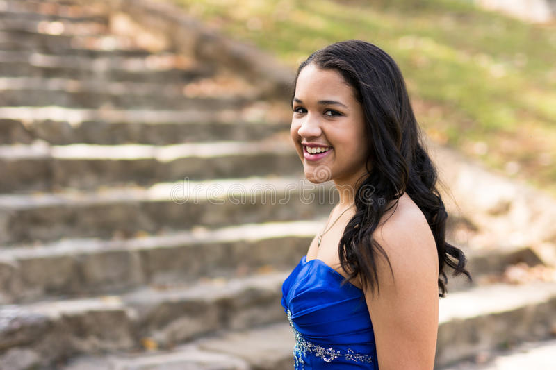 Quinceanera Dress. Teen girl wearing her formal Quinceanera dress royalty free stock photos