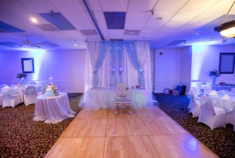 Quinceanera, Sweet 16  Ballroom. Kit purple royalty free stock image