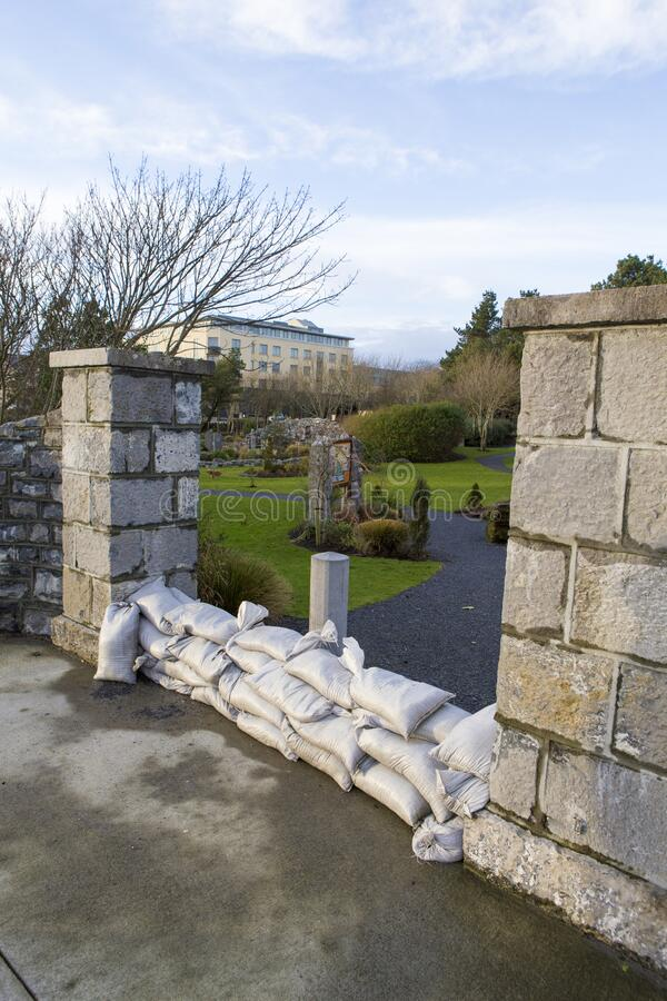 Quincentennial park entrance covered with sand sacks stock photo