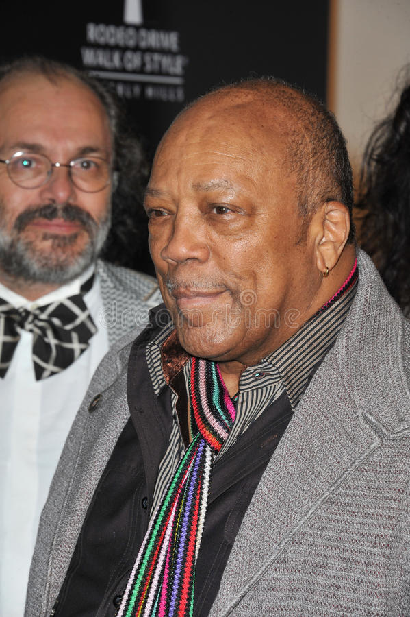 Quincy Jones. At the 2011 Rodeo Drive Walk of Style gala honoring Italian fashion house Missoni and supermodel Iman, on Rodeo Drive in Beverly Hills. October 23 royalty free stock images