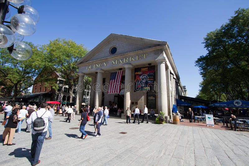 Quincy market in Boston during day royalty free stock photo
