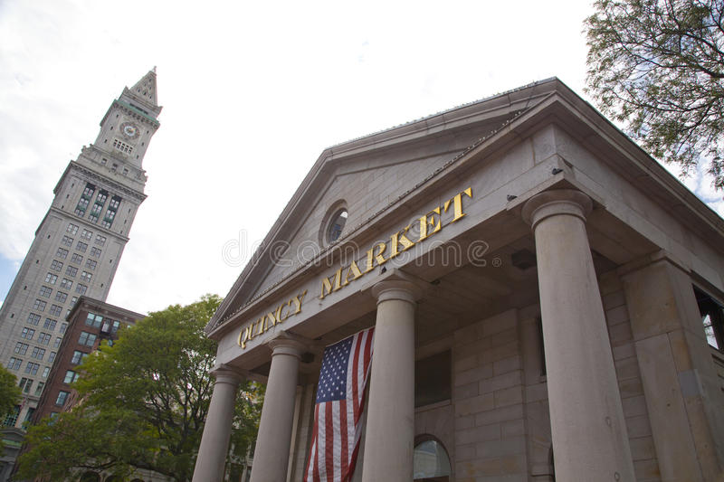 Quincy Market, Boston. Quincy Market is a historic market complex near Faneuil Hall in downtown Boston, Massachusetts. It was constructed in 1824–26 and stock photography
