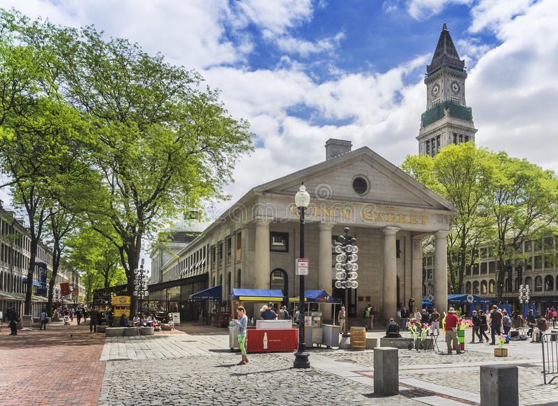 Quincy market, Boston, MA. USA. Quincy Market on a spring cloudy Morning. Quincy Market is a retail and restaurant complex at Faneuil Hall Marketplace, located stock image