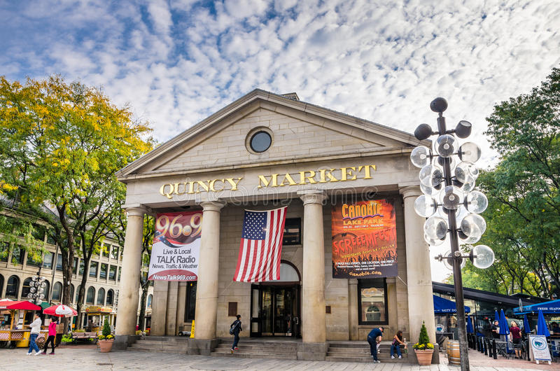 Quincy Market on a Fall Cloudy Morning, Boston. Boston, MA, USA - October 6, 2012: Quincy Market on a Fall Cloudy Morning. Quincy Market is a retail and royalty free stock photo