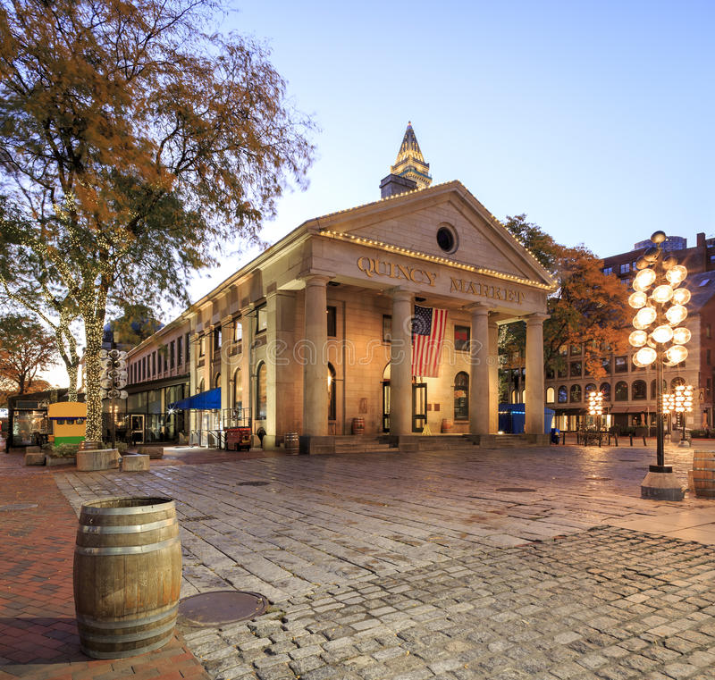Quincy Market. The historic architecture of the Quincy Market in Boston, MA, USA at sunrise royalty free stock photos