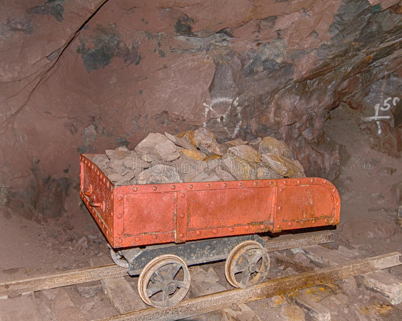 Quincy Mine Ore Cart, Keweenaw National Historical Park, MI. HANCOCK, MI/USA - JULY 24, 2015: Quincy Mine ore cart (trolley), Keweenaw National Historical Park stock photos