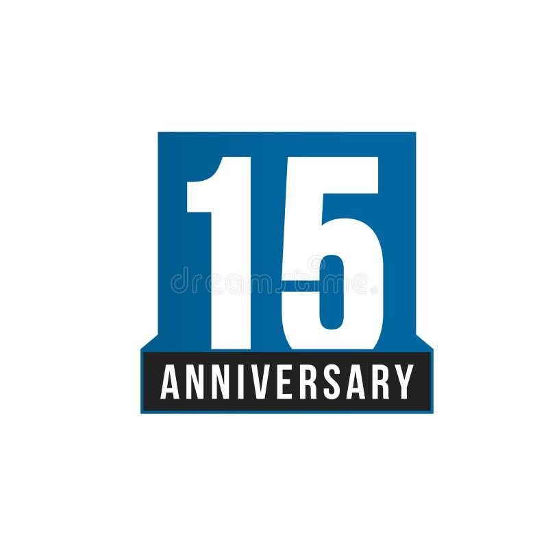 quindicesima icona di vettore di anniversario Modello di logo di compleanno Elemento di progettazione della cartolina d'auguri Em illustrazione vettoriale