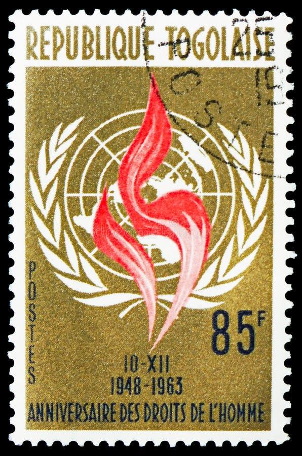 quindicesimo anniversario della dichiarazione dei diritti umani, serie di Commemoratives, circa 1963 fotografie stock