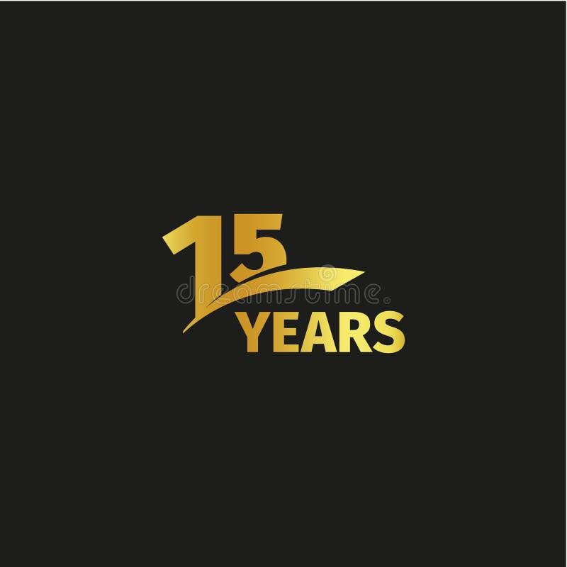 Quindicesimo logo dorato astratto isolato di anniversario su fondo nero illustrazione vettoriale