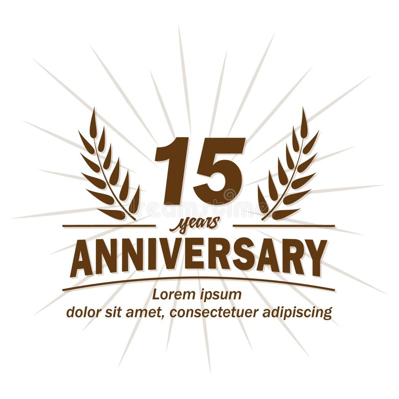 quindicesimo modello di progettazione di anniversario quindicesimi vettore ed illustrazione di anni royalty illustrazione gratis