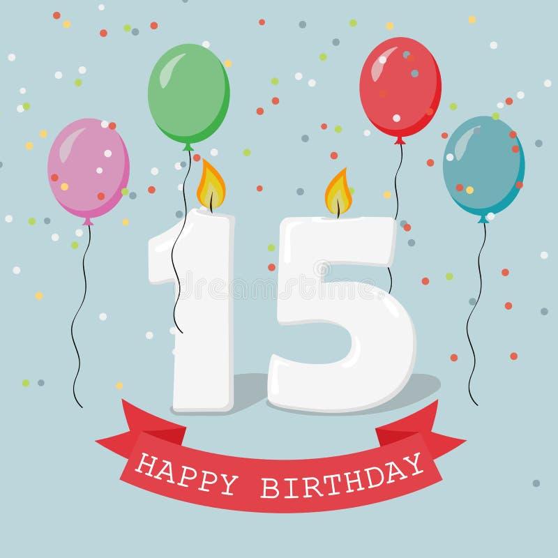 Quindici anni di anniversario di cartolina d'auguri con le candele illustrazione vettoriale