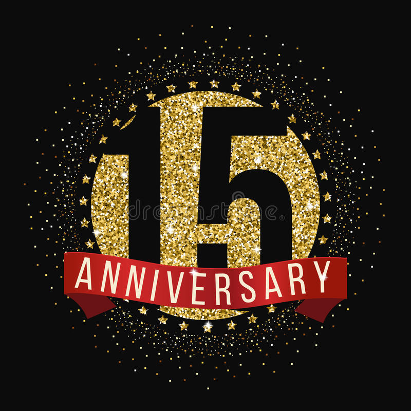 Quindici anni di anniversario di logotype di celebrazione quindicesimo logo di anniversario royalty illustrazione gratis