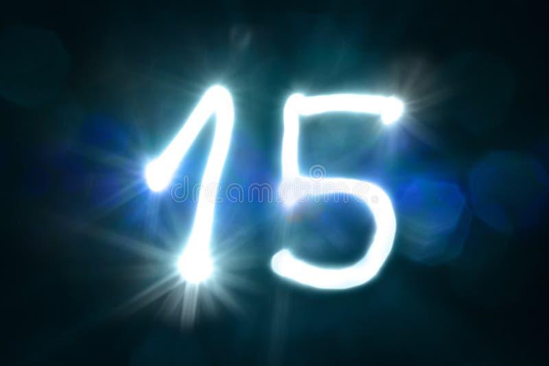 Quindici anni leggeri di anniversario di numero di lustro della scintilla fotografia stock libera da diritti