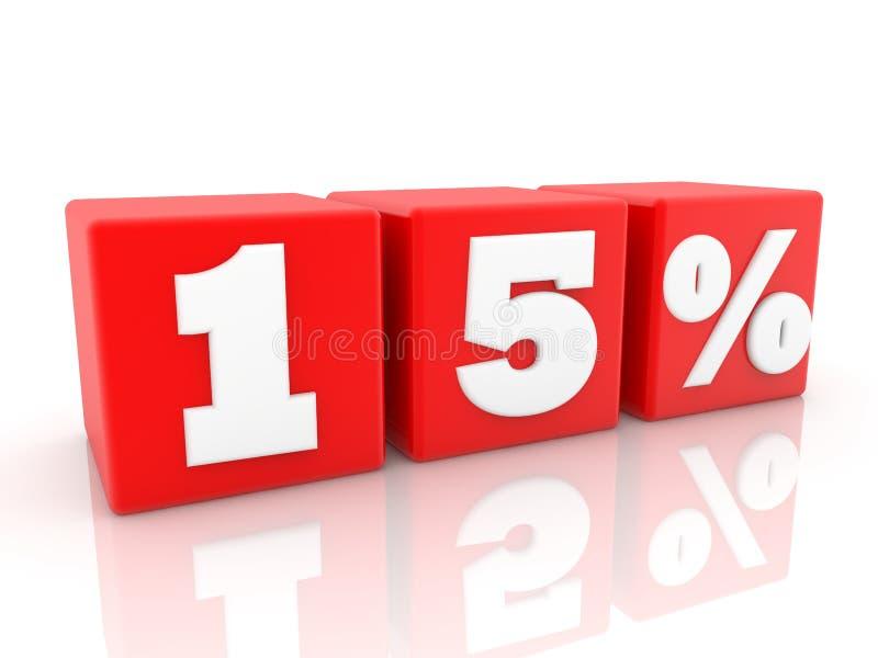 Quindici per cento di concetto sui cubi rossi illustrazione 3D royalty illustrazione gratis