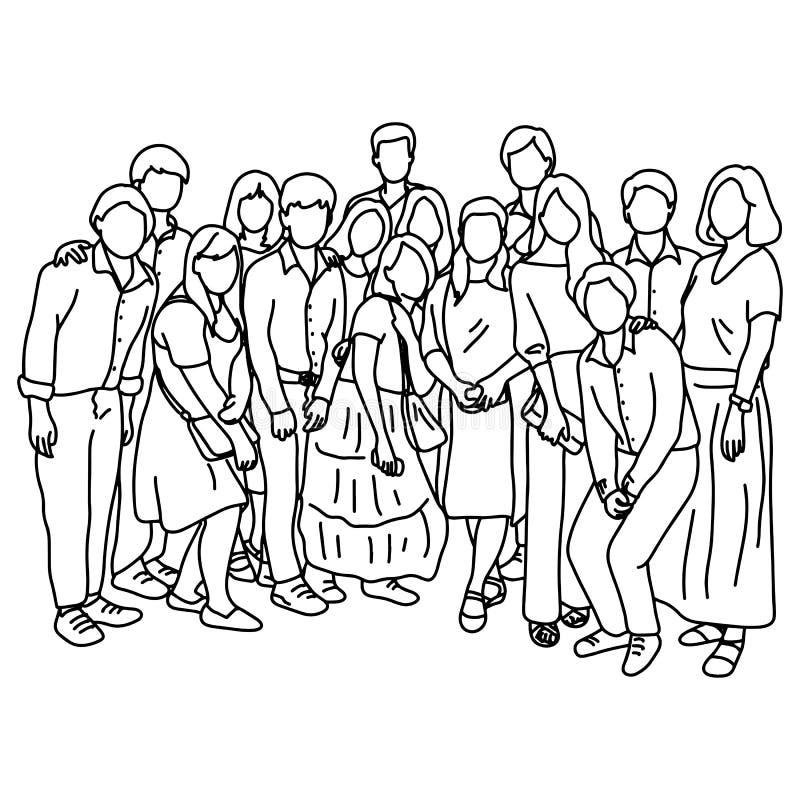 Quindici persone che stanno insieme scarabocchio di schizzo dell'illustrazione di vettore disegnato a mano con le linee nere isol illustrazione vettoriale