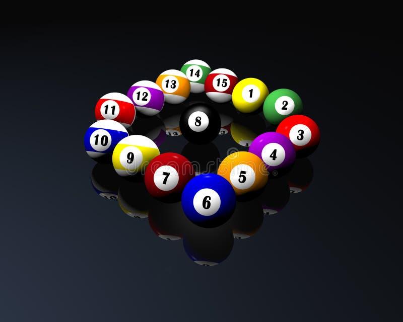 Quindici sfere di biliardo del raggruppamento illustrazione vettoriale