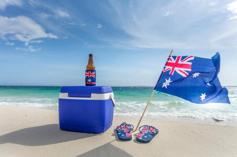 Quinessentially Australian - esky thongs beer stock photos