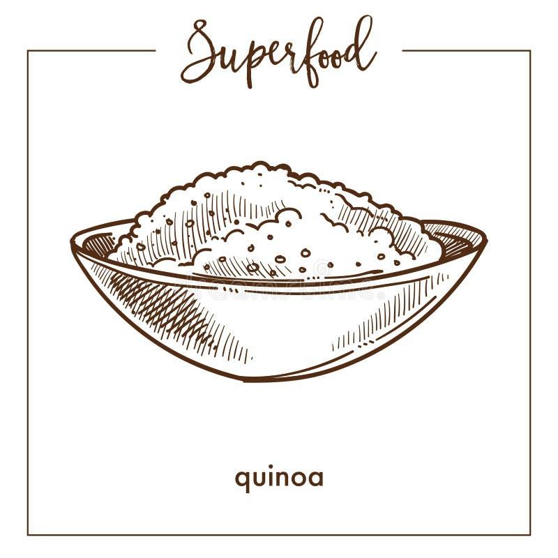 Quinoa δημητριακά στο βαθύ σκίτσο superfood κύπελλων μονοχρωματικό διανυσματική απεικόνιση