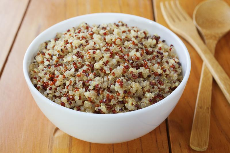 Quinoa and Amaranth. A bowl of cooked quinoa and amaranth. Contains red, white and black quinoa stock photos