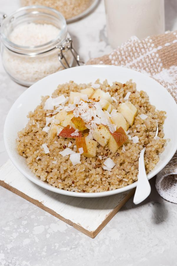 quinoa with apple and coconut for healthy breakfast, vertical royalty free stock photos