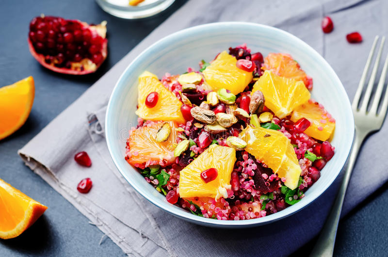 Quinoa chilantro beet pistachio pomegranate salad royalty free stock photography