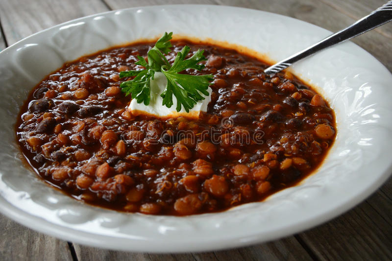 Quinoa Lentil Chili royalty free stock photos