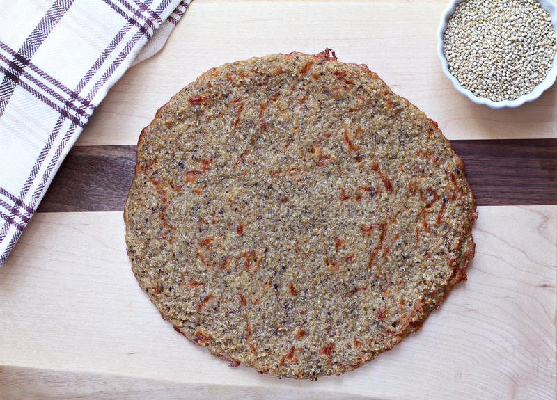 Quinoa Pizza Crust, top view royalty free stock image