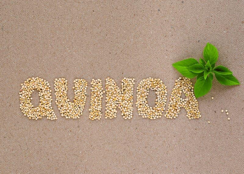 Quinoa słowo z basilem obrazy royalty free