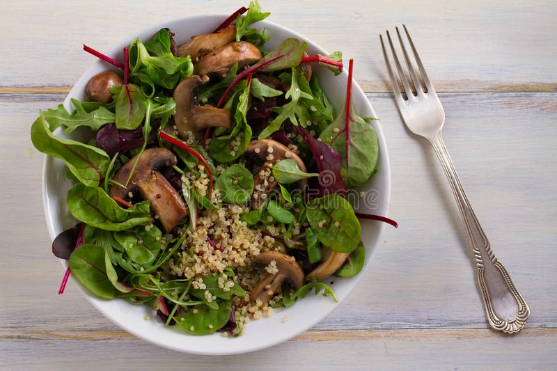 Quinoa salad with mushrooms, herbs, spinach, arugula. Quinoa healthy superfood concept. Clean healthy detox eating. Vegan and vegetarian food. View from above stock photo