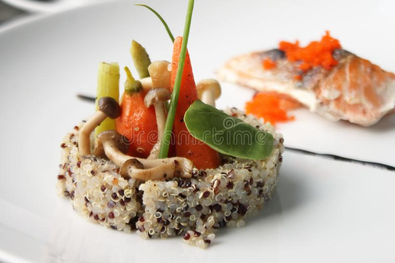 Quinoa salmon fillet with fresh and quinoa stock image