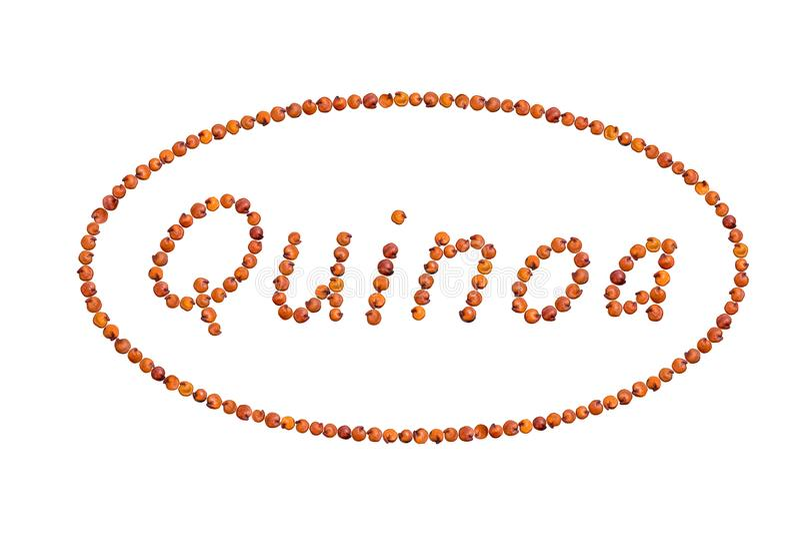 Quinoa som är skriftlig med frö royaltyfria foton