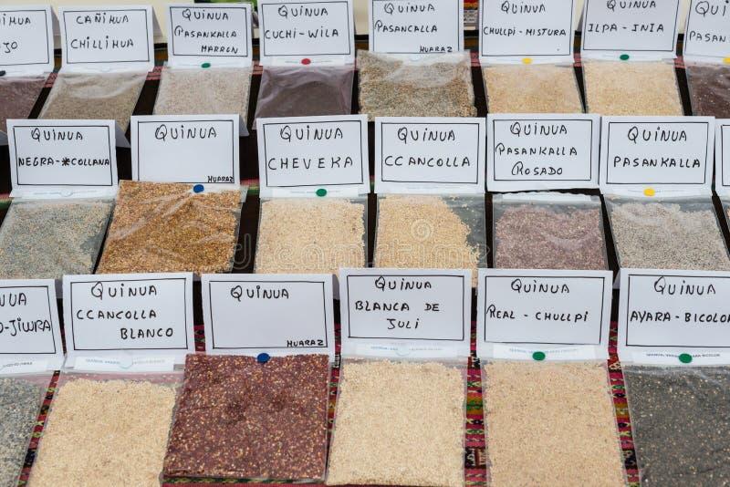 Quinoa types Lima Peru stock afbeelding