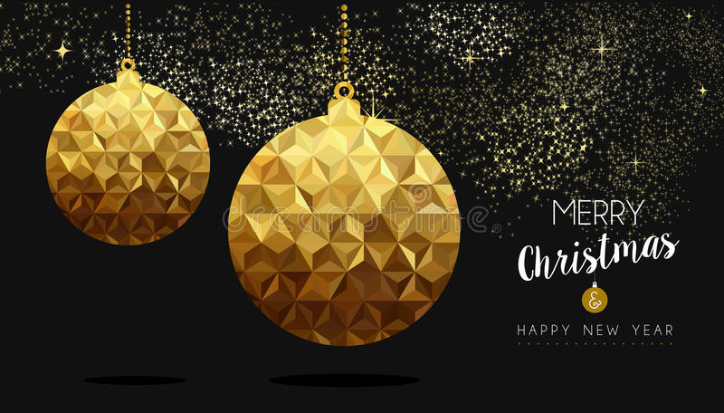 Quinquilharia poli do Natal do ouro e do ano novo baixa ilustração do vetor