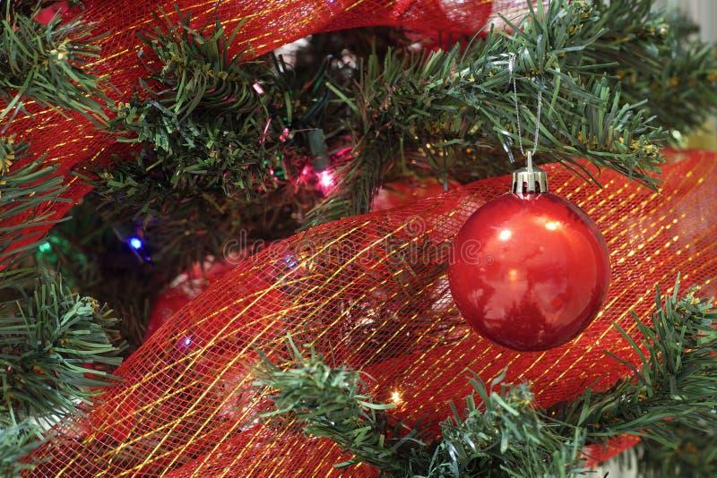 Download Quinquilharia Vermelha Do Natal Com Fita Em Uma árvore Foto de Stock - Imagem de presente, verde: 80100522