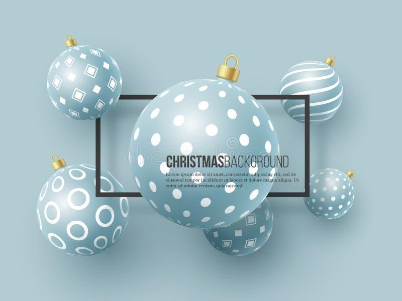 Quinquilharias azuis do Natal com teste padrão geométrico estilo 3d realístico com quadro preto, fundo abstrato do feriado, vetor ilustração stock