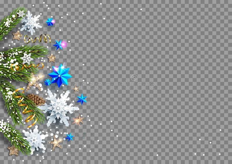 Quinquilharias das decorações, estrelas, flocos de neve ilustração do vetor
