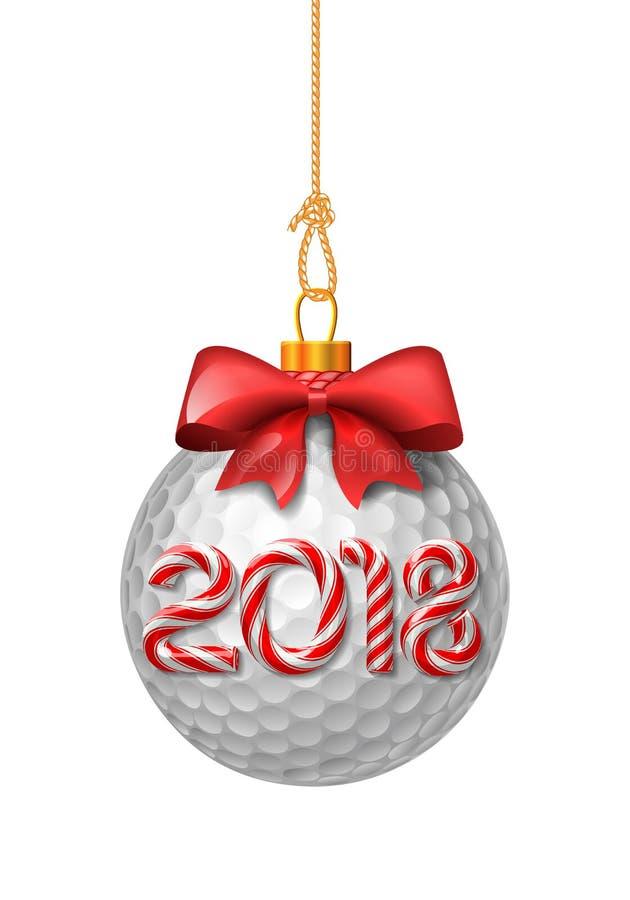 Quinquilharias do Natal da bola de golfe com bastão de doces ilustração stock