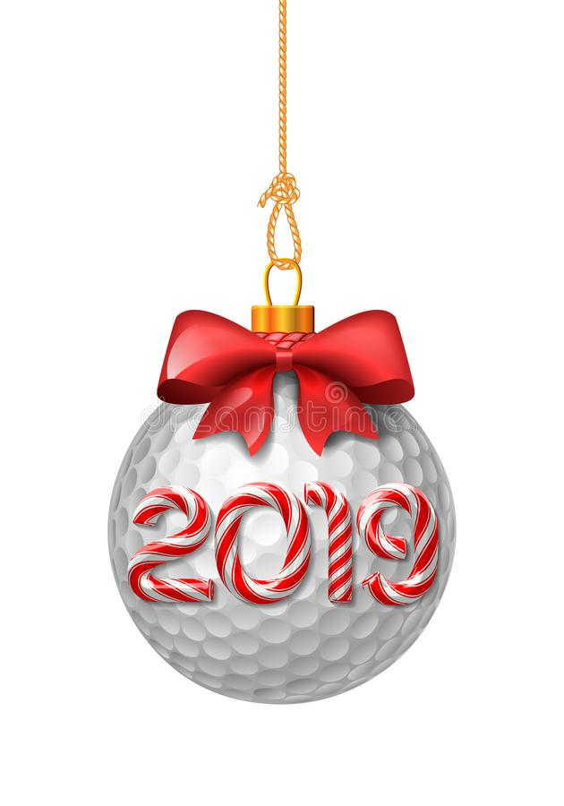 Quinquilharias do Natal da bola de golfe com bastão de doces ilustração royalty free