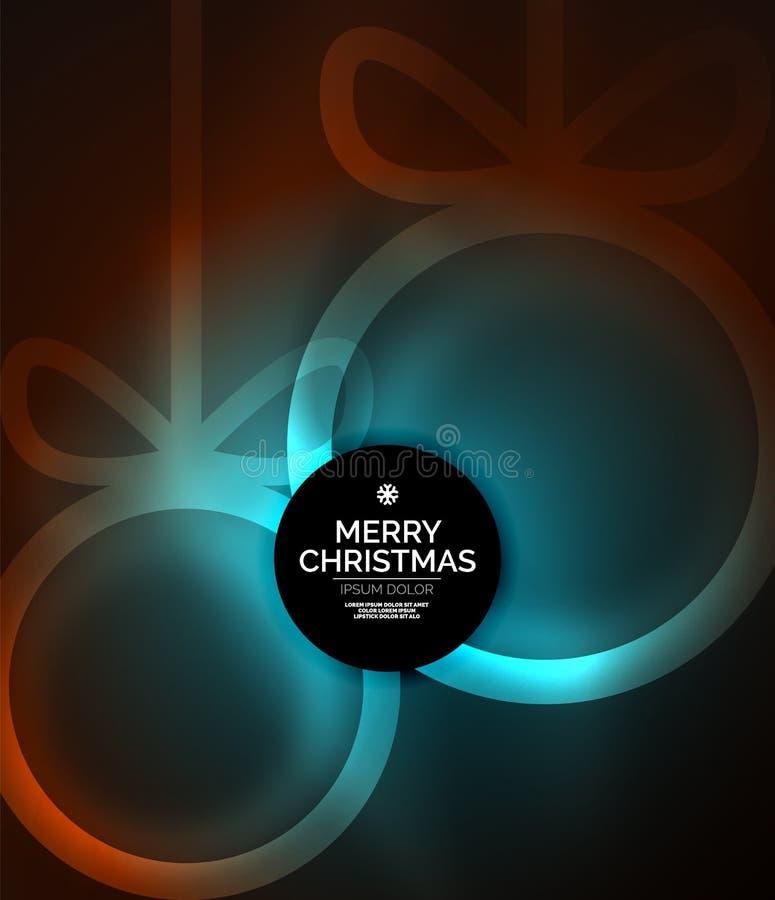 Quinquilharias do Natal, fundo escuro mágico do vetor com as esferas de incandescência do ano novo ilustração do vetor